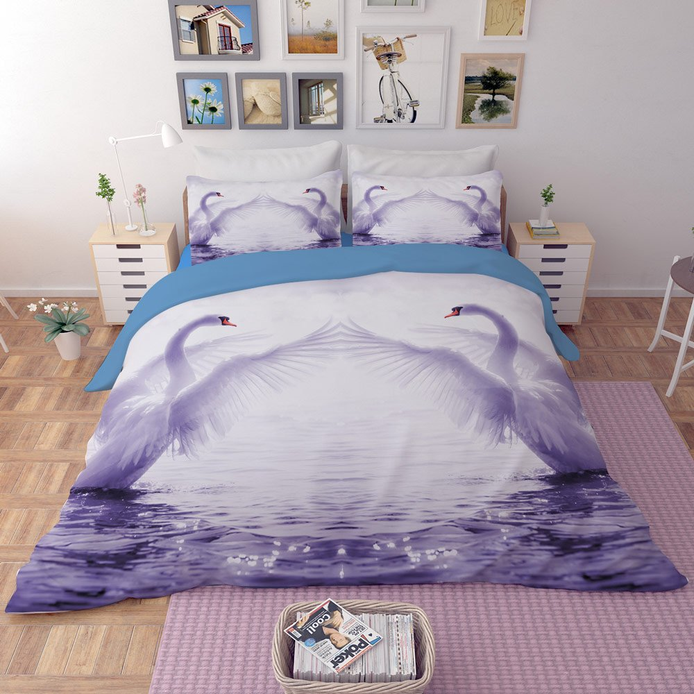 RuiHome 4-Piece Queen Size Duvet Cover Set 205 Thread Count Soft Polyester Bedding for Bedroom College Dorm Room, Swan Lover Pattern Design