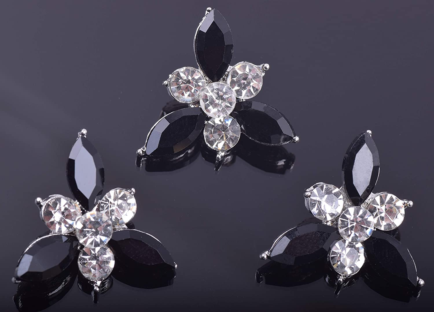 KAOYOO 10Pcs 21MM Crystal Rhinestone Buttons with Silver Plated Brass Base Clear and Black