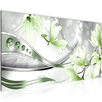 Bilder Blumen Magnolien Wandbild 100 x 40 cm Vlies - Leinwand Bild XXL  Format Wandbilder Wohnzimmer Wohnung Deko Kunstdrucke Grün 1 Teilig - Made  IN ...