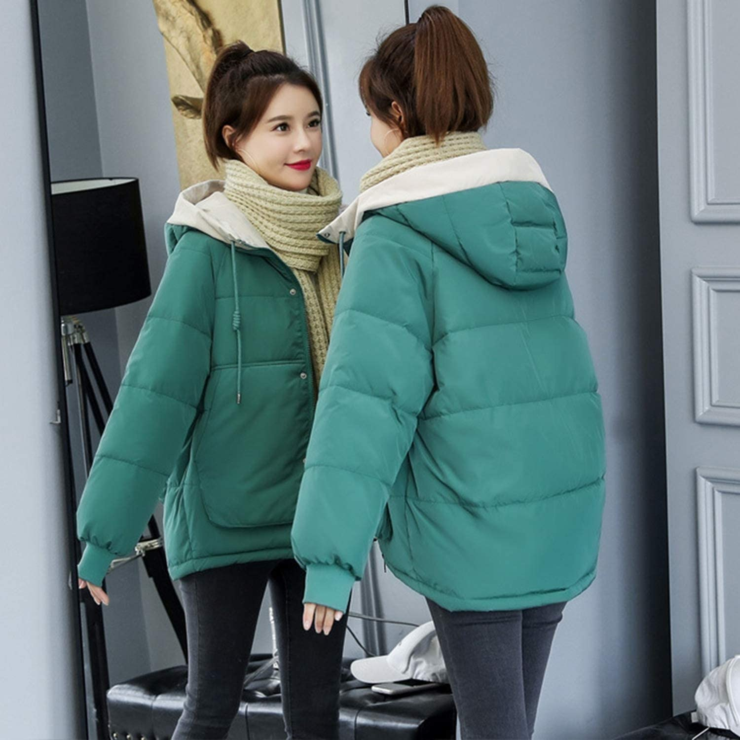 Beautiful-clouds Giacca Invernale Donna Plus Size 3XL Cotone Cappotto Addensare Corto con Cappuccio Outwear Verde