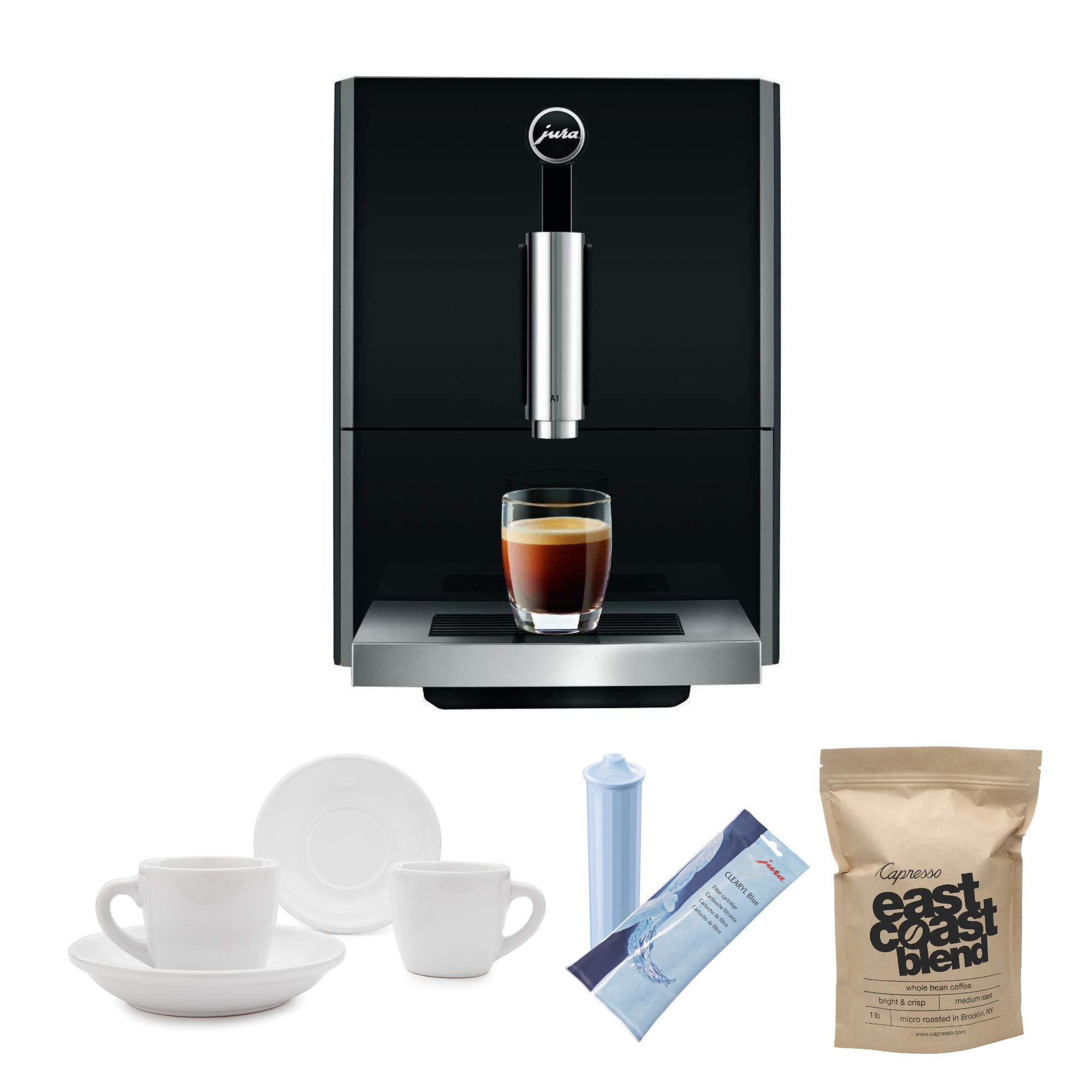 Jura A1 Ultra Compact Coffee Center 15148 with P.E.P. Includes Jura Filter Care Cartridge, Coffee Beans and Set of 2 Ceramic Cups and Saucers by Jura
