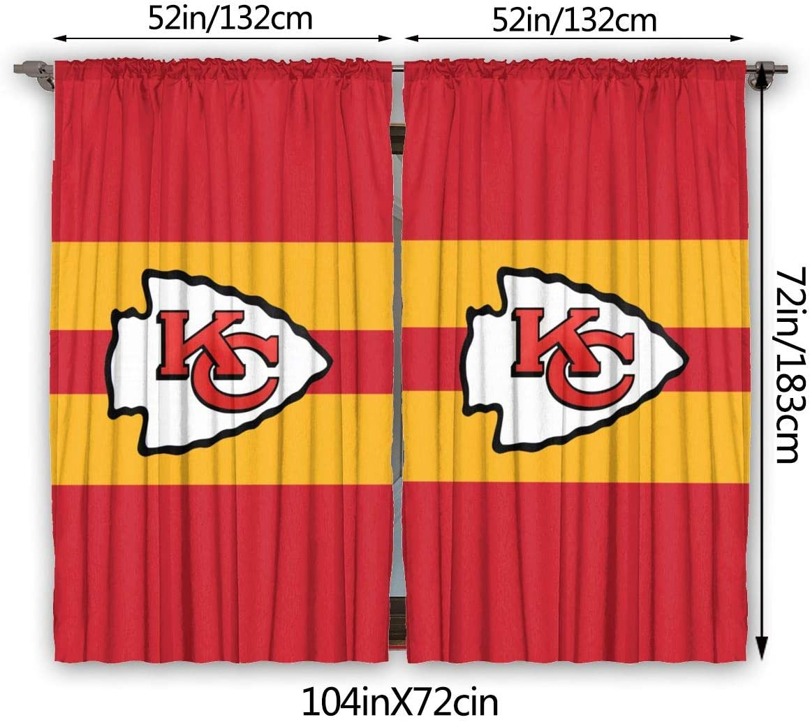 Loreneolden Window Curtains Kansas City Chiefs Logo Blackout Curtains, Thermal Insulation Curtains for Bedrooms, 52 X 72, 2 Panels