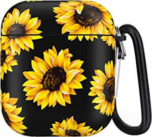 Airpods Case - IceModo Sunflower Printing Protective Hard Cover Case Compatible with Apple Airpods 2st/1nd Charging Case (Sunflower)