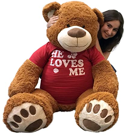 d3bd5d31cb6 Image Unavailable. Image not available for. Color  Big Plush 5 Foot Giant  Teddy Bear 60 Inch Soft Brown Wears HE Loves ME T