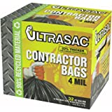 "Aluf Plastics 770478 Ultrasac Heavy Duty Professional Quality Contractor Trash Bag, 42 Gallon Capacity, 48"" Length x 33"" Width x 4 mil Thick, Black (Case of 32)"