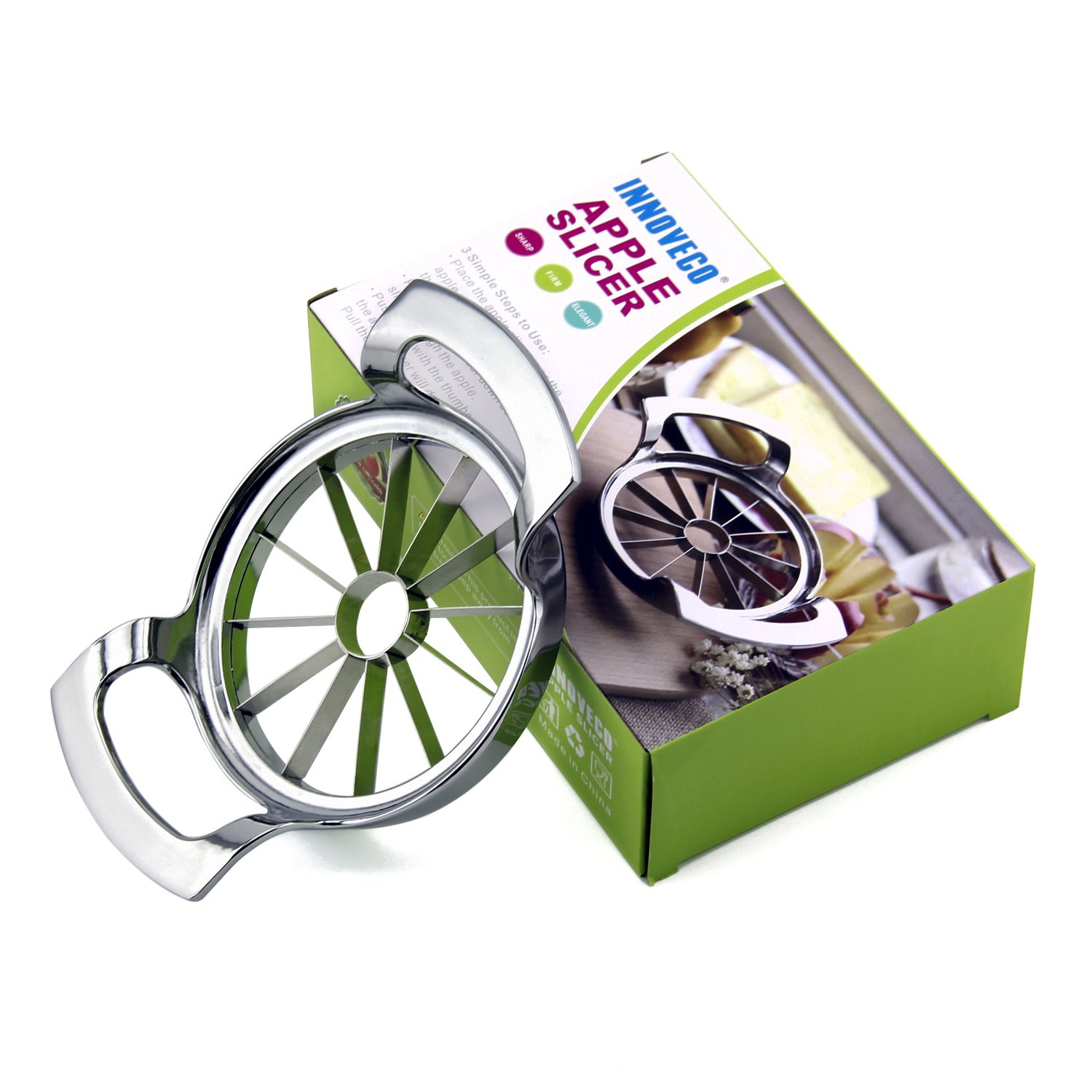 Stainless Steel Apple Slicer Corer Cutter Divider, 12 Blades Food Grade 304, Extra Large Heavy Duty Apple Slicer up to 4 Inch Apples