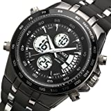 BINZI Hombre reloj de pulsera Relojes deportivos digital Reloj de cuarzo Reloj de lujo LED de doble pantalla con negro Reloj de alarma de alarma de banda de silicona analógico multifunción Fecha