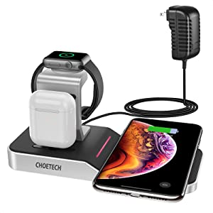 CHOETECH Wireless Charging Station 4 in 1 (MFi Certified) Apple Watch Charger Stand for iWatch Series 5/4/3/2,AirPods Pro,iPhone SE2020/11/11 Pro/11 Pro Max,Galaxy S20/S20+/S20 Ultra(Adapter Included)