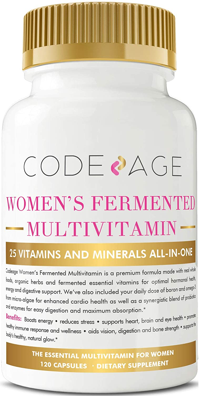Codeage Women's Fermented Multivitamin with Vegan Omega 3, Fermented Herbs, Raw Organic Extracts, Non GMO, 120 Vegan Capsules