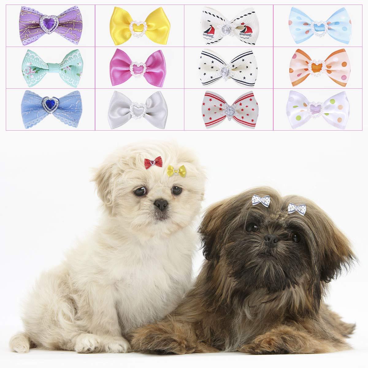 POPETPOP UEETEK 60PCS Multicolor Rubber Bands Elastic Hair Bands Bowknot Headwear Headdress for Pets Cat Dog