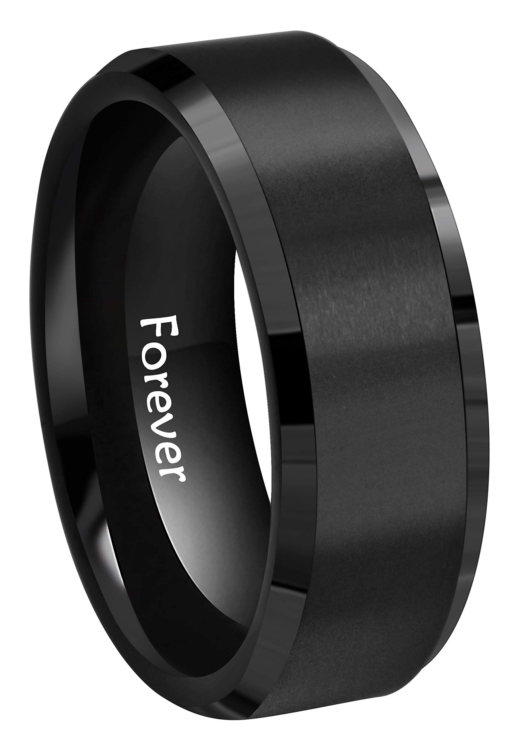 Crownal 8mm 6mm Black Tungsten Carbide Wedding Couple Bands Rings Matte Finish Center Engraved''Forever'' Size 5 To 17 (8mm,12.5)
