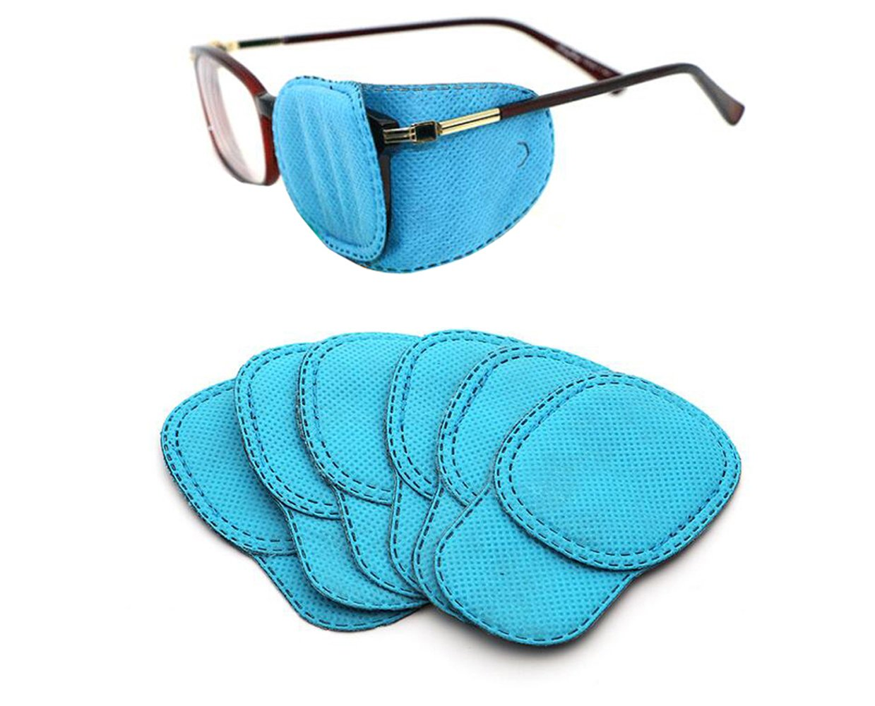 6PCS Blue Unisex Children Amblyopia Corrected Visual Acuity Recovery Eye Patch Mask Cover Pads for Lazy Eye/Amblyopia / Strabismus (L-4.13'' x 1.96'') Upstore