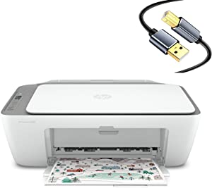 HP All-in-One Wireless Bluetooth Color Inkjet Printer Scanner Copier for Home Business Office, Up to 1200 Resolution dpi, Dual-Band WiFi, Icon LCD Display, USB, White, Printer Cable