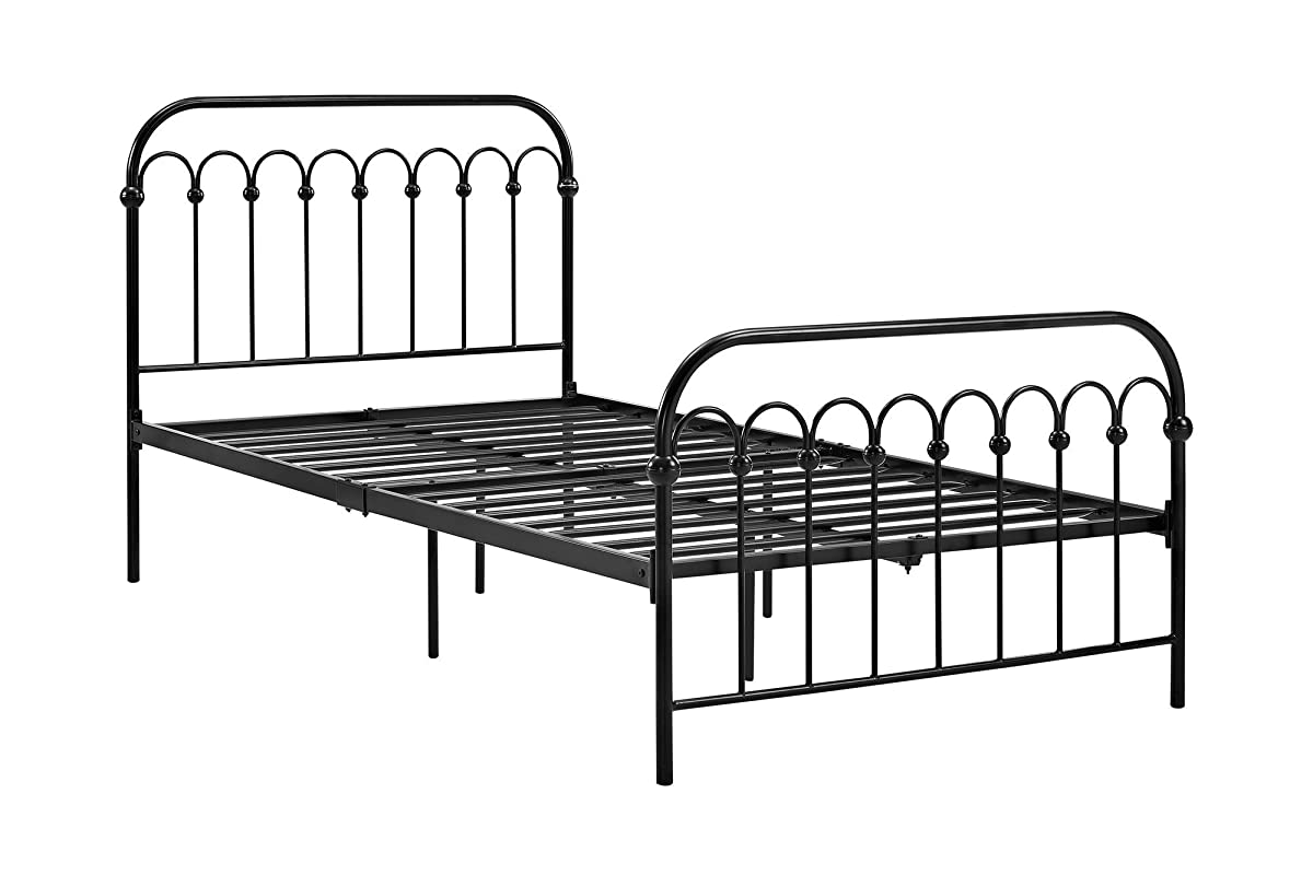 "Novogratz Bright Pop Metal Bed, Adjustable Height for Underbed Storage (6.5"" or 11""), Metal Slats Included, Twin, Black"