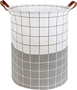CLOCOR Laundry Basket,Laundry Hamper,Collapsible Storage Bin,Canvas Fabric Clothes Baskets,Nursery Hamper for Home,Office,Dorm,Gift Basket (Grey & White Grid)