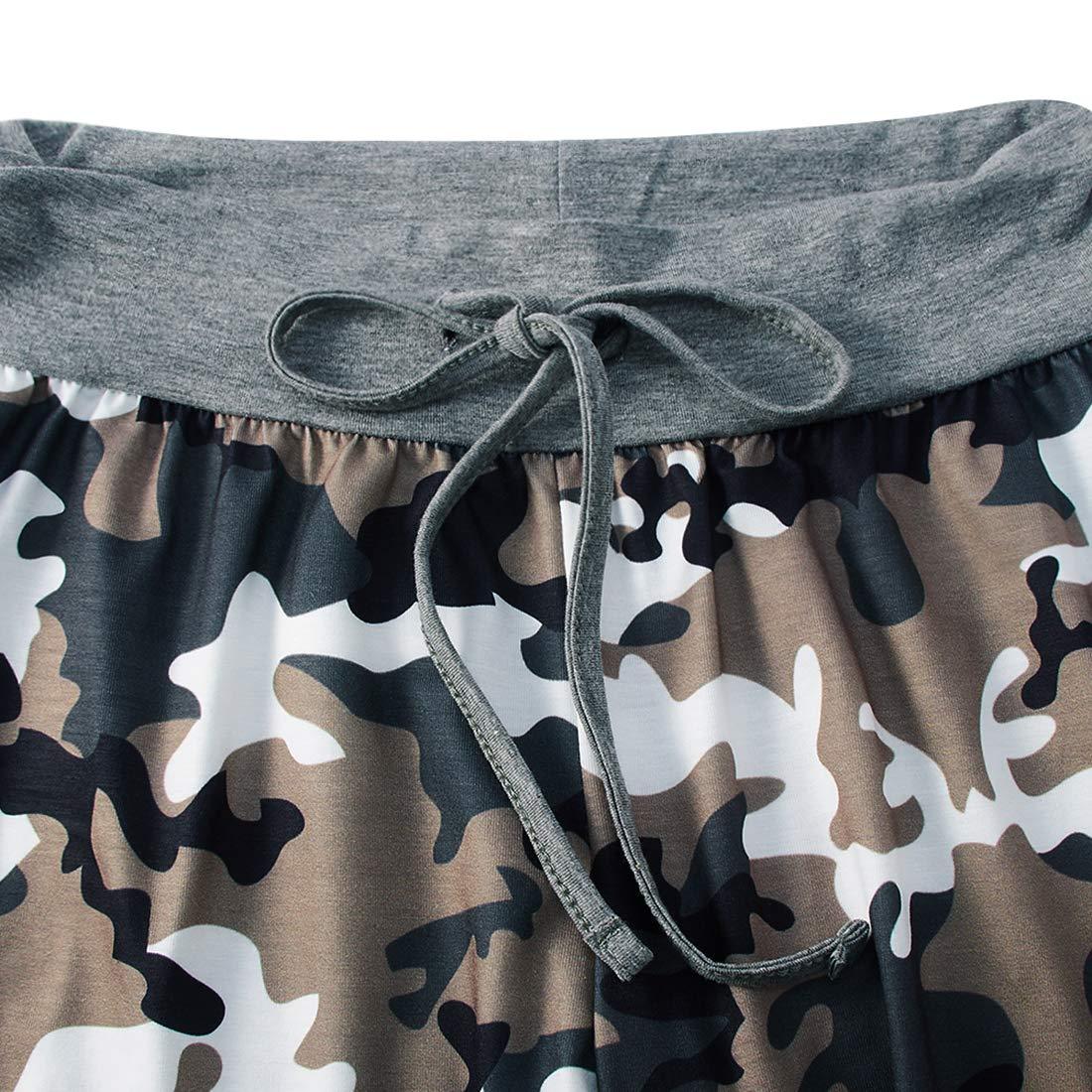 Pantaloni Casual da Donna Stile Palazzo Fanient Coulisse a Vita Alta Gambe Larghe Comodi con Stampa 3D