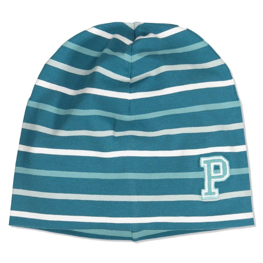 Polarn O. Pyret Striped ECO Beanie (2-9YRS) - Colonial Blue/2-9 Years