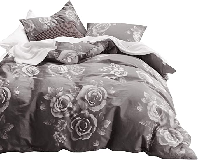 Floral 6 Piece Comforter Set Carol-03 Oversized /& Overfilled White /& Gray Flower