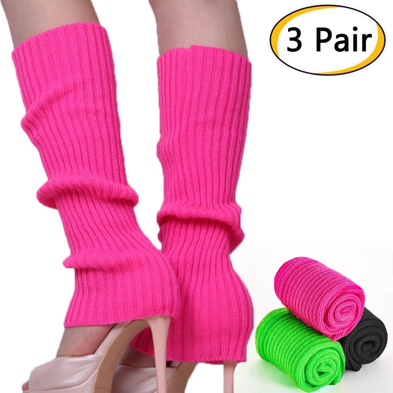 3 Pair Knee High Socks Warm Leg Warmer,Women Knit Leg Warmers Women Juniors 80s Eightys Ribbed Leg Warmers for Party Sports Dance Yoga
