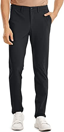 CRZ YOGA Men's Skinny Stretch Slim Casual Solid Dry Feeling Thick Pants with Side Pockets 34 inches