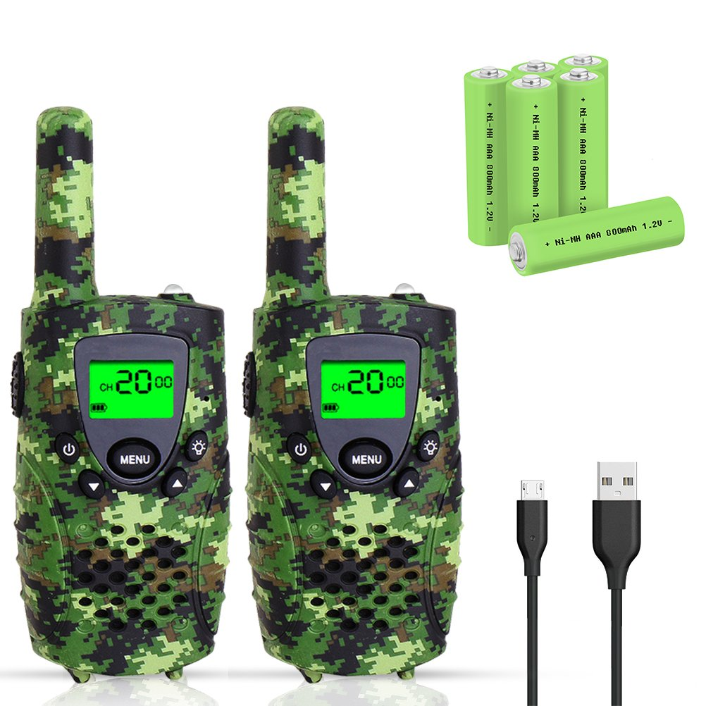 Walkie Talkies for Kids, FAYOGOO 22 Channel Walkie Talkies Two Way Radio 3 Miles (Up to 4 Miles) Long Range Set Mini Walkie Talkies for Kids, Toys for 3 Year Old Up Boys and Girls (Camo Green) by FAYOGOO (Image #1)