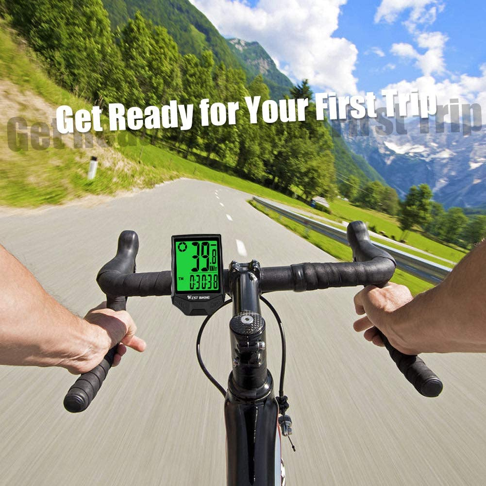 ICOCOPRO Bike Computer Wireless IP66 Waterproof Bike Speedometer /& Odometer with 18 Functions Automatic Wake-up Cycling Computer 2.36 In LCD Backlight Display for Outdoor Riding