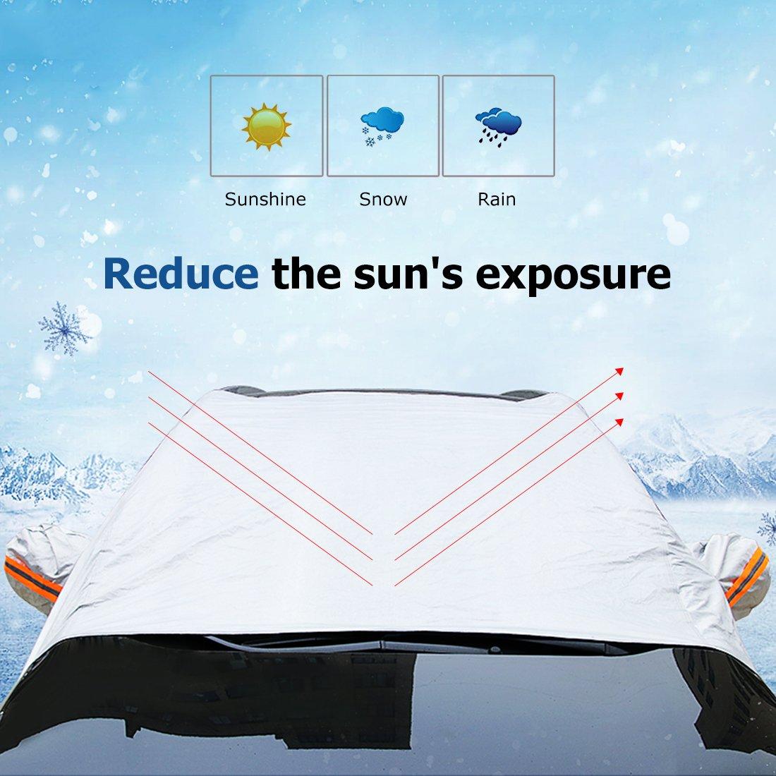 Parabrezza Parasol Auto per Inverno e Estate Fit SUV OLSMART Protezione parabrezza antighiaccio Telo Copriauto Felpato Impermeabile Universale per Copri Parabrezza Tergicristalli Specchietto Auto