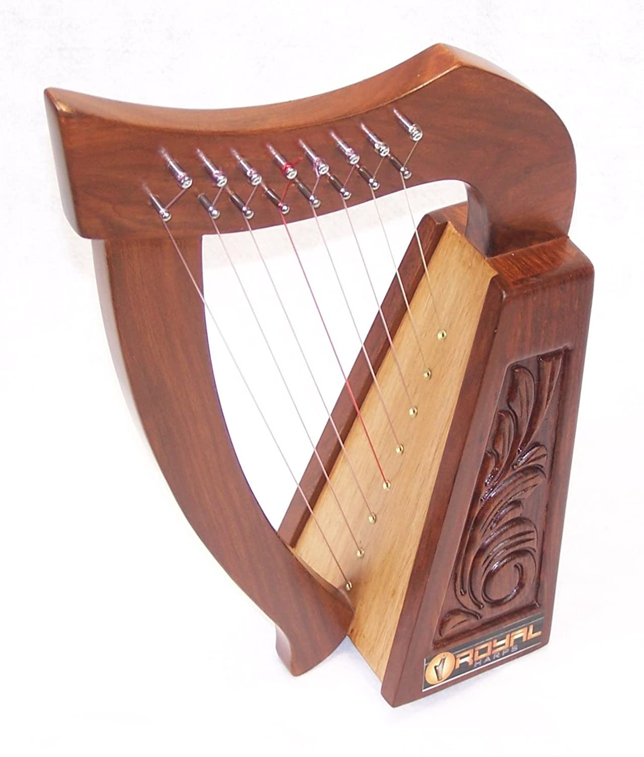 19 Inch Tall Celtic Irish Rose Harp 8 Strings Solid Wood Great for Children New Royal RHP8