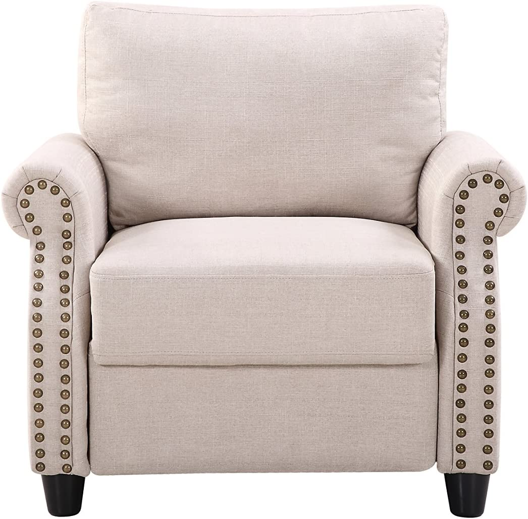 Beige Divano Roma Furniture Classic Living Room Linen Armchair with Nailhead Trim and Storage Space