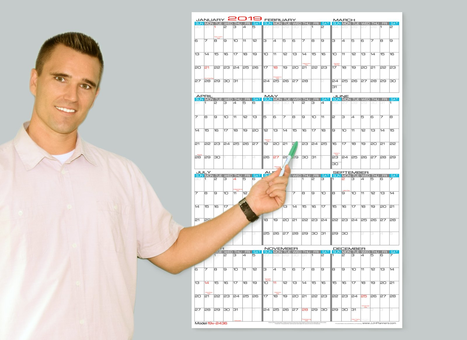 Wet Erase - 24'' x 36'' Large 2019 Yearly Laminated Wall Calendar - Vertical Planner (19v-2436)