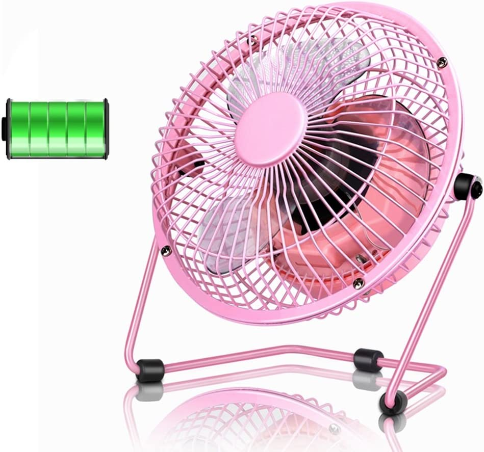 USB personal Desk fan Mini Metal Table Fan USB Quiet Desk Fan Retro Design With On//off Switch Free Angle Rotation Personal Fan For Work Home School Travel for home office table Color : Pink