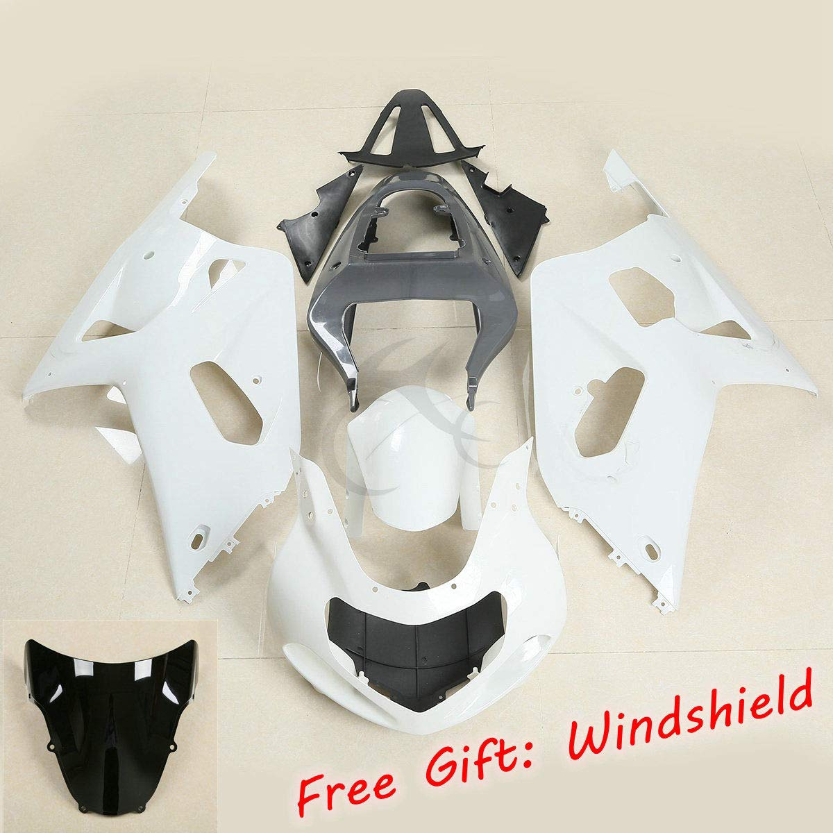 XFMT Motorcycle White Unpainted ABS Plastic Fairing Cowl Bodywork Set For SUZUKI GSX-R 600 GSXR 750 2001 2002 2003 K1