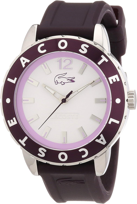 Lacoste 2000669 - Reloj analógico de Cuarzo para Mujer con Correa de Silicona, Color Morado