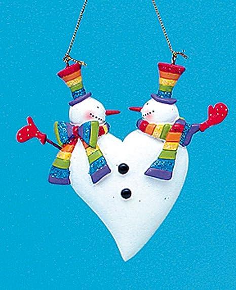 325 gay pride smiling heart rainbow snowmen christmas ornament - Gay Pride Christmas Decorations