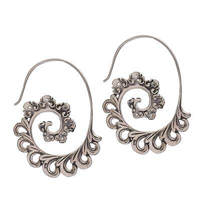 Novica Sterling silver half hoop earrings, Balinese Fern - Sterling Silver Earrings