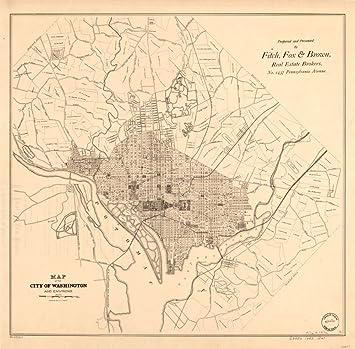 Map Of United States Washington Dc.Amazon Com Vintage 1885 Map Of The City Of Washington And Environs