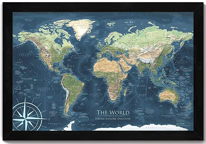 Terrain World Map.Amazon Com World Map Push Pin Voyager 1 World Map Mounted On