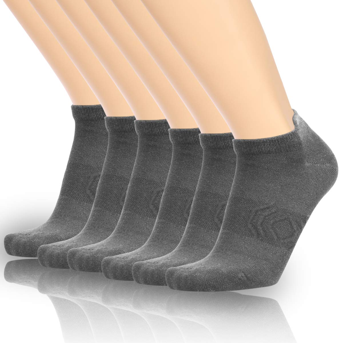 Zisuper Womens Mens Low Cut Ankle Athletic Socks No Show Breathable Cotton Tab Sock 6 Pack