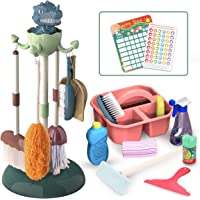 REMOKING Kids Toys Pretend Play,17Pcs Household Cleaning Tools,Toddler Housekeeping Accessories with Broom,Mop,Brush…
