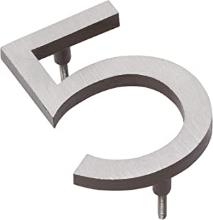 """product image for Montague Metal Products MHN-10-F-AC2-5 Solid Brushed Aluminum Modern Floating Address House Numbers, 10"""", Satin Nickel Powder Coated Antique Copper Two-Tone"""