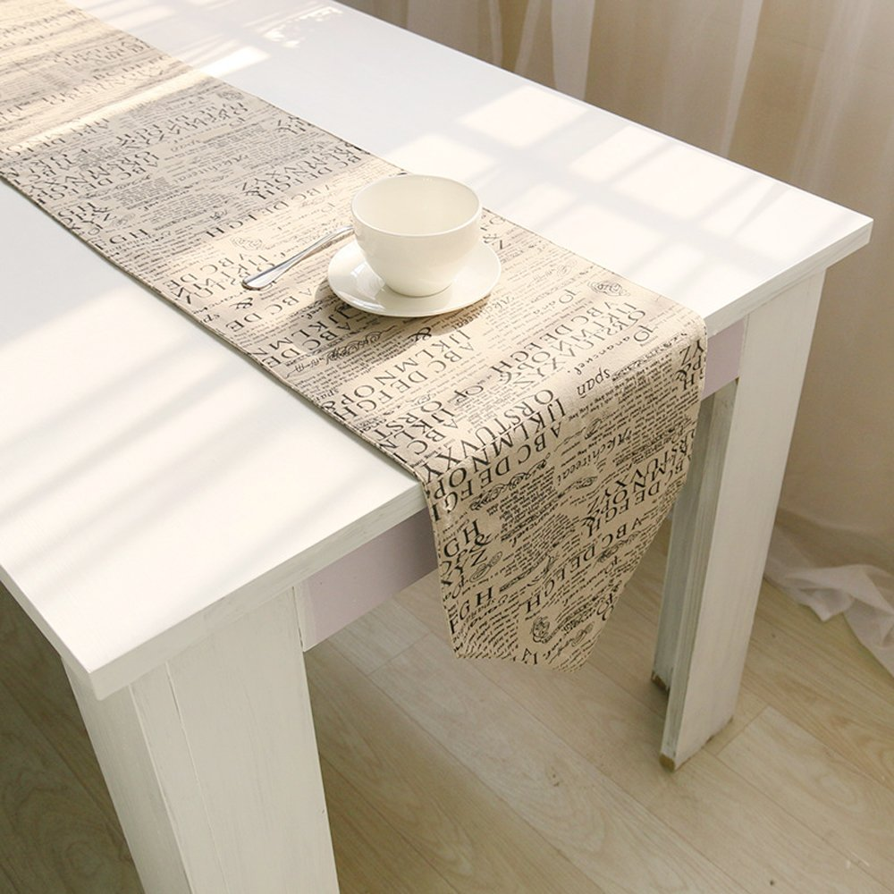 Uphome Shabby Chic Monogrammed Letters Words Home Doily Linen Table Runner - Cotton Canvas Fabric Wedding Hotel Dinning Table Top Decoration (12'' W x 72'' L)