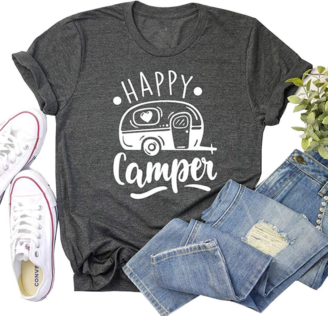 Happy Camper Shirt Women Funny Letter Printed Tops T-Shirt Casual Graphic Camping Tee Shirts