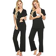 MAXMODA Womens Delivery/Labor/Maternity/Nursing Pajamas Set Nightgown Pregnancy Gown for Hospital Breastfeeding (Black M)