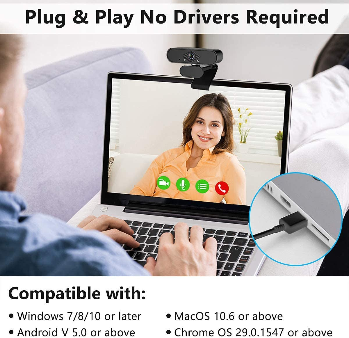 HD PC Webcam Laptop Plug and Play USB Webcam Streaming Computer Web Camera with 110-Degree View Angle Desktop Webcam for Video Calling Recording Conferencing 1080P Webcam with Microphone