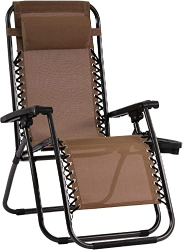 Patio Chair Zero Gravity Chairs Set of 1 Outdoor Adjustable Dining Reclining Folding Chairs for Deck Patio Beach Yard with Pillow and Cup Holder