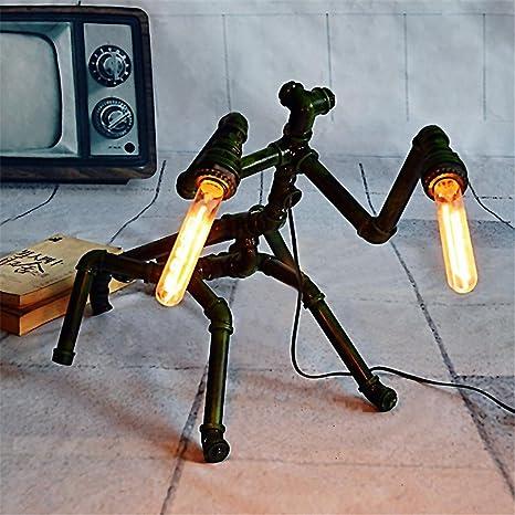 Retro Arte del hierro Mantis Pipa de agua Luz del tubo Lámpara de sobremesa: Amazon.es: Iluminación