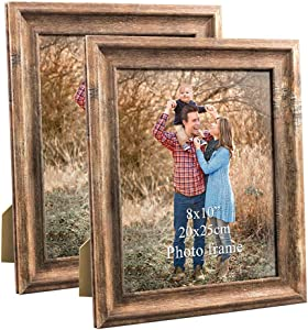 ZBEIVAN 8x10 Picture Frames Set of 2 Poster Vintage Brown Wood Rustic Family Art 10x8 Photo Frame for Vertical Horizontal Tabletop Standing or Wall Hanging
