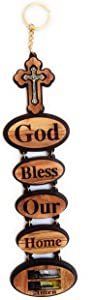 Inspirational Positive Quotes Wall Art Decor Sign God Bless Our Home Olive Wood Cross Crucifix Handmade