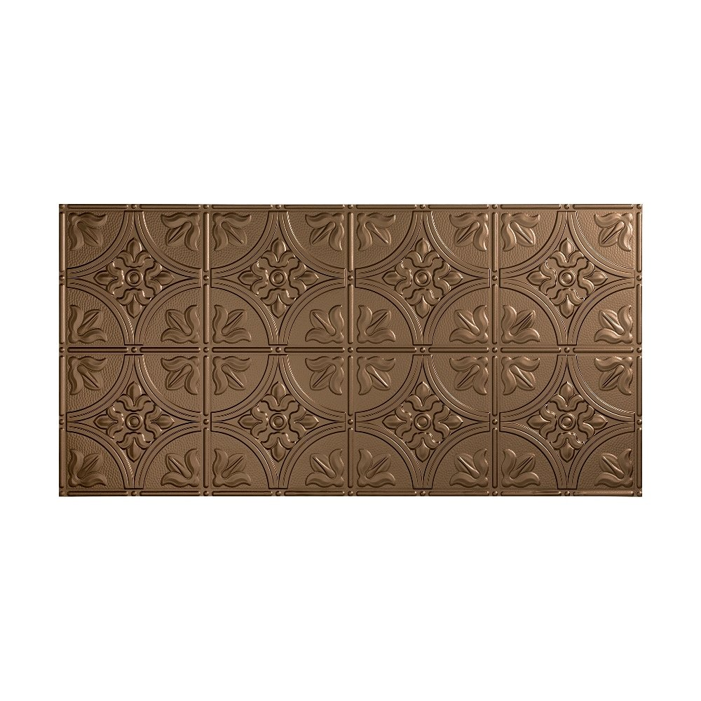 Fasade - 2ft x 4ft Traditional 2 Glue Up Ceiling Tile/Ceiling Panel - Fast and Easy Installation (2' x 4' Tile, Argent Bronze)
