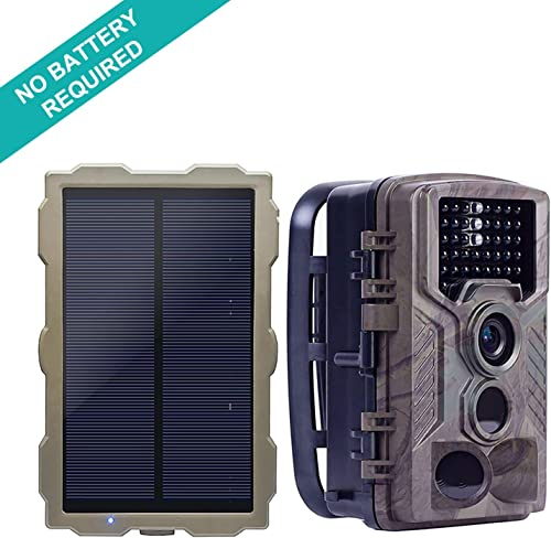 ECO LLC Solar Hunting Trail Game Camera with Portable Solar Panel for Charging Camera 46Pcs IR LEDs 16 MP 0.2 S Trigger Speed 1080p Video w Audio 2.4 HD LCD Screen IP66 Waterproof